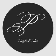Shop Wedding Calligraphy Fancy Letter P Monogram Classic Round Sticker created by cliffviewgraphics. Monogram Stickers, Monogram Gifts, Custom Stickers, Lettering Design, Hand Lettering, Fancy P, Fancy Letters, Wedding Calligraphy, Black And White Colour