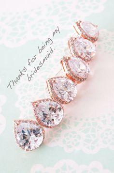 Rose Gold Luxe Cubic Zirconia Teardrop Ear stud, wedding bridal earrings, bridal bridesmaid gifts, ear post stud, pink gold weddings, www.colormemissy.com
