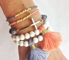 Peach, Grey and White Indie Bracelet Stack with Whitewood Tassel Bracelets