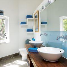 regendusche modernes bad mit dusche blaue beleuchtung glaskabin, Hause ideen