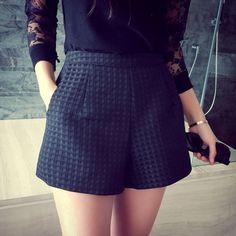 New Fashion Europe Plaid shorts high-waisted shorts Korean Casual women Jeans Shorts crochet shorts