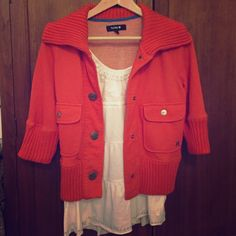 ⭐️3x HP!⭐️ Fall Hurley jacket Unique orange jacket from Hurley! Has ribbed collar and cuffs and large buttons in the front. Perfect for cool autumn nights. Missing the top button (but is hid by the fold of collar so you can't tell). Only worn once. 📦 bundle and save! Hurley Jackets & Coats