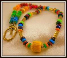 Colorful Shell Necklace with Large Drum Focal  by BlingbyDonna, $25.00
