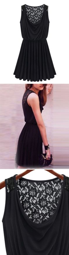 Little Black Dress - comfy and cute with a lace panel on the back #LBD #fashion #dress