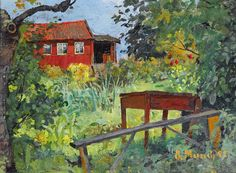 Edvard Munch (1863-1944) Garden with Red House, 1882