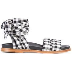 Marques'almeida gingham strap sandals ($331) ❤ liked on Polyvore featuring shoes, sandals, black, kohl shoes, leather shoes, black leather shoes, black sandals and marques almeida shoes