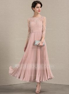 538e7800a79 A-Line Princess Scoop Neck Ankle-Length Pleated Zipper Up Sleeves Sleeves  No Dusty Rose General Plus Chiffon Lace Mother of the Bride Dress