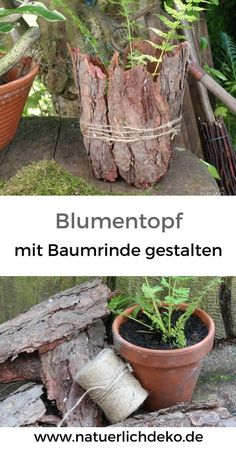 Dress flower pot with tree bark - - Blumentopf mit Baumrinde verkleiden Dress flowerpots with bark - super simple garden decoration. Easy Garden, Diy Garden Decor, Garden Pots, Autumn Garden, Decor Diy, Flower Pot Design, Flower Diy, Flower Crafts, Diy Flowers