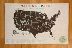 National Parks Checklist Map Print - 11x17 print. $35.00, via Etsy.