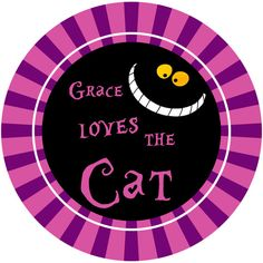 """PLATE  Loves the Cat  Cheshire Cat Alice in by LimeNCoconutDesigns, $22.00  You can also get this plate with the phrase, """"We're All Mad Here"""" on it.  Super cute for the kids and adults alike!"""