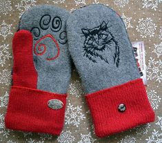 Wooly Bugged Kids Mittens Winter Knit Gloves for Girls Fleece Lined
