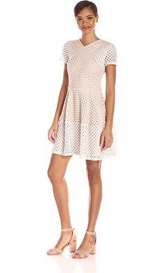BCBGMax Azria Women's Elyze Eyelet A Line Dress, Bare Pink Combo, Medium. Back zipper closure. Two-toned windowpane lace blocking. Fitted at the bust and waist. Hits above the knee. Dress Outfits, Fashion Dresses, Women's Dresses, Pink A Line Dress, Eyelet Dress, Eyelet Lace, Hourglass Dress, Best Designer Dresses, Womens Cocktail Dresses