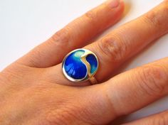 Sterling Silver Ring with Blue  Enamel UK size M only  www.alisonswindles.com