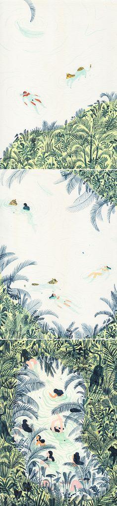 As peladinhas e os tigres | Monica Ramos - Ilustração/group exhibition in Copenhagen.