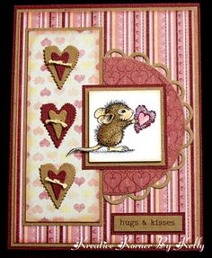 handmade Valentine card ... lots of layers with pretty papers and three hearts ... adorable little mouse image ...