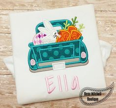 Easter Truck applique embroidery design by BeauMitchellBoutique on Etsy https://www.etsy.com/listing/172350298/easter-truck-applique-embroidery-design
