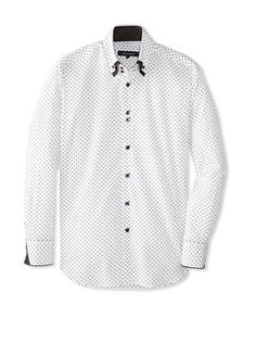 reputable site ef24a 7e7f2 70% OFF Bogosse Mens Yunus 81 Jacquard Long Sleeve Shirt (White)