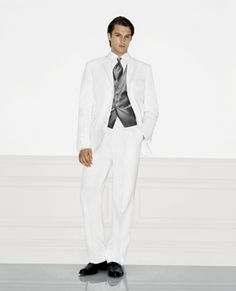 3-Button Stylish White Men's Wedding Suit with Notched LapelWhite Suit for Wedding