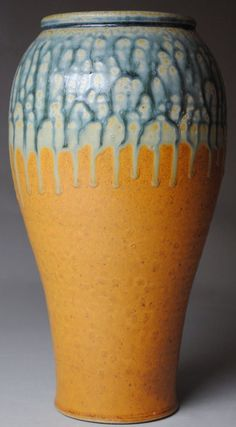 Love...JohnMcCoyPottery | Clay Vase Blue Ash and Orange
