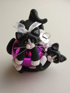 Polymer Clay Christmas Ornament Tuxedo Cats