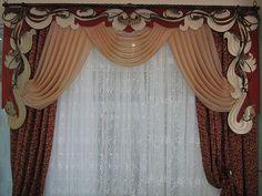 Image result for изготовлению ажурных ламбрекенов. Bay Window Curtains, Valance Curtains, Curtain Designs, Window Treatments, Diy Home Decor, Windows, House, Ornament, Curly