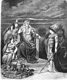 Illustrations by Carl Emil Doepler 'The Elder' from Nordisch-Germanische Götter und Helden: Frigg and her Attendants, 1882