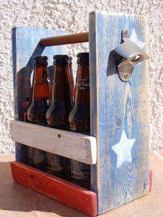 USA Patriotic Six Pack Bottle Holder With Bottle Opener, Red, White, and Blue, 4th of July Ready! by WoodCore on Etsy