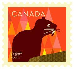 'Beaver' Dale Nigel Goble stamp design for Canada Post.  Via Canadian Design Resource.