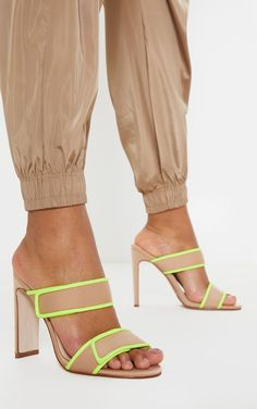The Nude Sporty Twin Strap Mule. Head online and shop this season's range of shoes at PrettyLittleThing. Express delivery available. Nude Strappy Heels, Pointed Toe Heels, Peep Toe Shoes, Twin Outfits, Sporty Outfits, Festival Boots, Wide Fit Shoes, Leotard Fashion, Killer Heels