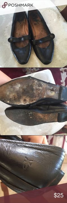 Frye Mary Jane Flats Recently resoled at a cobbler, worn a lot but has great life left to them. The leather is spotless. I'm a size 7 in Fryes boots, but these are rather tight on my feet just so you know which is why I'm selling them. Frye Shoes Flats & Loafers
