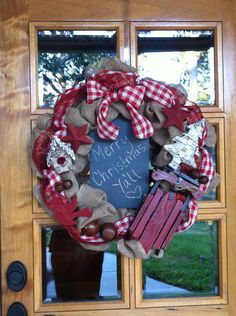 Burlap Country Christmas Wreath by KnotTheUsual on Etsy, $90.00
