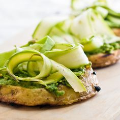 Grilled Potato Rounds with Pesto and Shaved Asparagus Recipe