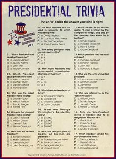 Printable Presidential Trivia for President's Day, Independence Day, Patriotic Holiday Parties
