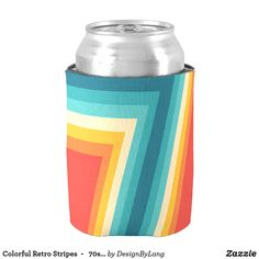 Colorful Retro Stripes  -   70s, 80s Design Can Cooler