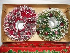 VTG Mica Bottle Brush Christmas Wreath Candle Holders w/ Glass Ornaments Boxed