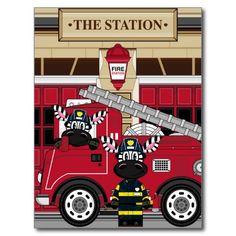 Cute Cartoon Zebra Fireman Postcard