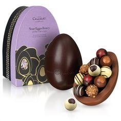 Your Eggsellency Extra Thick Easter Egg - Our extremely distinguished iconic extra thick Easter egg, with one shell cast in 40% milk and the other in 70% dark chocolate.