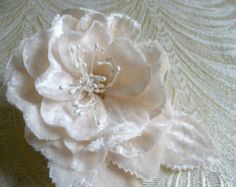 Ivory Cream Blush Velvet Rose Millinery Flower for Weddings, Bridal, Gowns, Hats, Corsage, Crafts, Hair Clip 3FN0080I