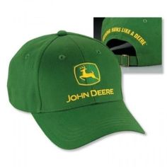 This tried and true John Deere Green structured brushed twill hat says I m  a fan. Adjustable cloth backstrap with Nothing Runs Like A Deere slogan ... 5e5462793c9