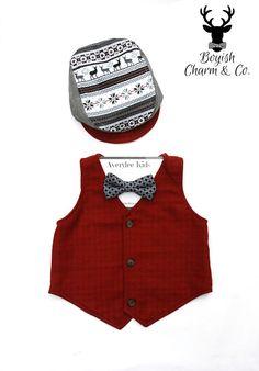 Boys Red Flannel Vest, Red Tonal Check Vest for Boys, Fashion Valentine for Children, Valentine Outfit by BOYISHCHARMandCO on Etsy