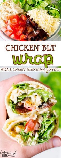 BLT Chicken Wraps are loaded with crispy lettuce bacon chicken tomatoes cheese and a homemade creamy dressing wrapped inside a flour tortilla Simple easy and DELICIOUS Co. Blt Wrap, Chicken Blt, Chicken Bacon Wrap, Chicken Meals, Keto, Easy Chicken Recipes, Healthy Chicken Wraps, Chicken Tortilla Wraps, Healthy Wraps