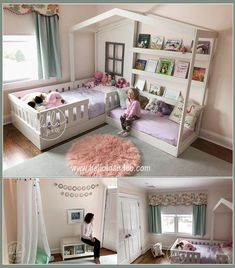 One of my favorites! Perfect for your little reader. Solid wood construction allows parents to enjoy story time with their child. This adorable solid wood bed fits a crib mattress & a twin mattress (not included. Girl Bedroom Designs, Girls Bedroom, Bedroom Decor, Girl Room Decor, 6 Year Old Girl Bedroom, Kids Bedroom Dream, Twin Girl Bedrooms, Girls Bunk Beds, Bedroom Nook