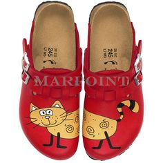 Kay Clogs made of Birko-Flor in Red with Bridget the Cat | Birkis by Birkenstock