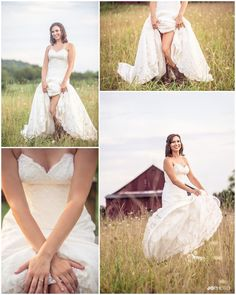 Tennessee farm wedding, bridal pictures in a field - love this! Click to view more from their southern wedding!