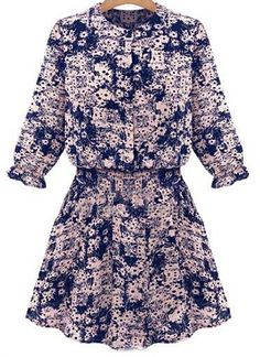 Blue Half Sleeve Florals Shirt Dress
