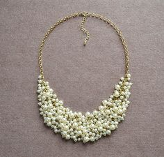 New+StylePearl+Cluster+NecklaceBib+Necklace+by+Blueoceanjewellery,+$18.90