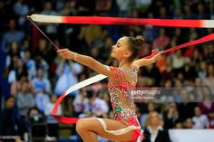 Arina Averina of Russia performs the ribbon exercise in the final ofthe International Rhythmic Gymnastics Championship at the Alina Cup Grand Prix 2016 event in Moscow, Russia, on February 21, 2016.