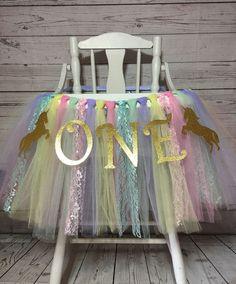 Unicorn High Chair Tutu, Unicorn First Birthday, Unicorn Smash Cake Decorations, Highchair Tutu, High Chair Shirt, Highchair Skirt by AvaryMaeInspirations on Etsy