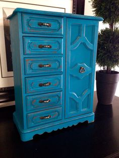 Vintage Large Wood Jewelry Box Hand Painted and Distressed by ColorfulHomeDesigns on Etsy