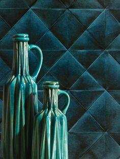 Turquoise | Dark teal | Greenish blue | ceramic bottles, velvet background